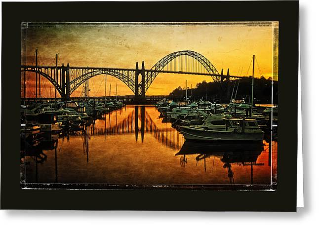 Seascape Art Greeting Cards - Yaquina Bay Bridge At Sunset Greeting Card by Thom Zehrfeld