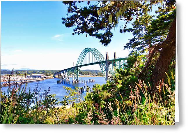 Yaquina Bay Bridge Greeting Cards - Yaquina Bay Bridge  Greeting Card by Athena Mckinzie