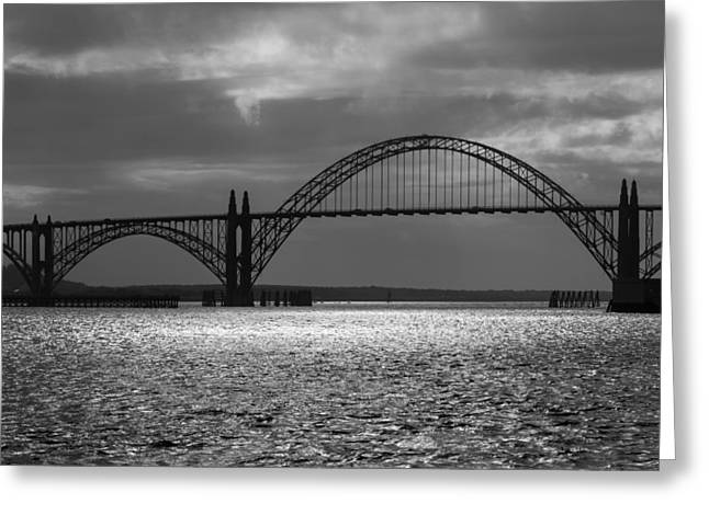 Bay Bridge Greeting Cards - Yaquina Bay Bridge Black And White Greeting Card by James Eddy