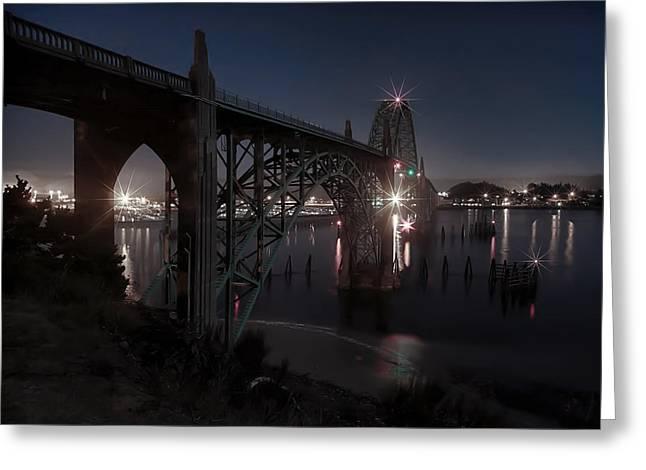 Yaquina Bay Bridge Greeting Cards - Yaquina Bay Bridge - Newport Oregon Greeting Card by Daniel Hagerman