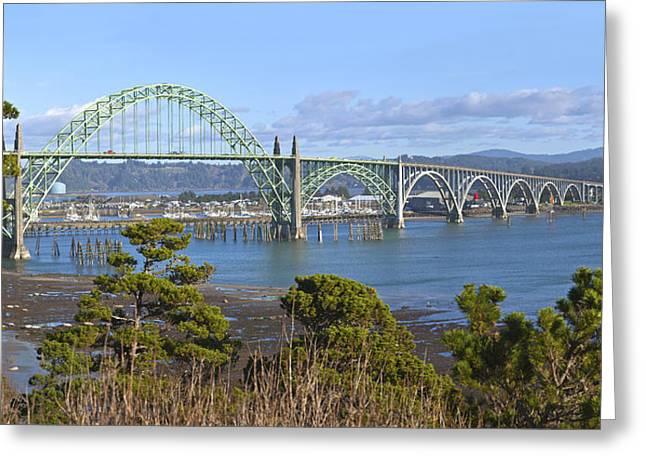 Yaquina Bay Bridge Greeting Cards - Yaquina Bay Bridge Newport Oregon Greeting Card by Gino Rigucci