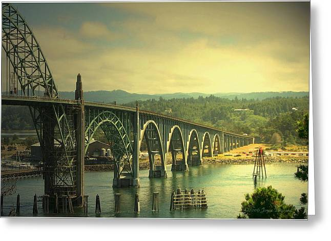 Bay Bridge Greeting Cards - Yaquina Bay Bridge Or Greeting Card by Joyce Dickens