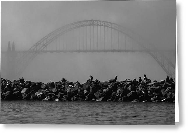 Newport Greeting Cards - Yaquina Bay Bridge under Fog Greeting Card by Mark Kiver