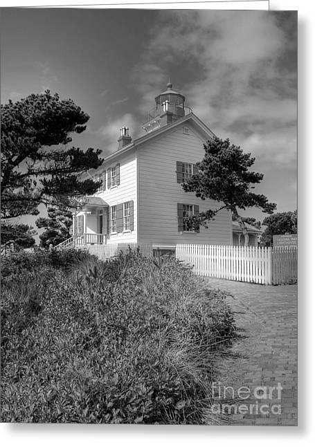 Yaquina Bay Lighthouse Greeting Cards - Yaquina Bay Light 2 BW Greeting Card by Mel Steinhauer