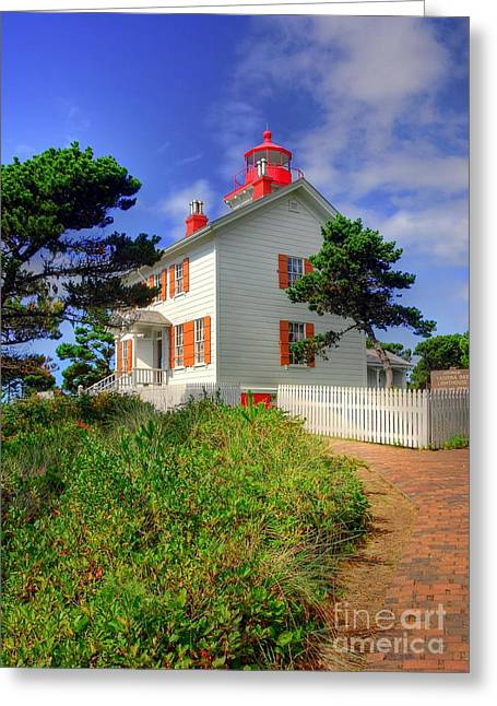 Yaquina Bay Lighthouse Greeting Cards - Yaquina Bay Light 2 Greeting Card by Mel Steinhauer