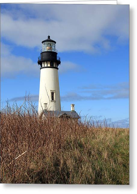 Historic Ship Greeting Cards - Yaquina Bay Lighthouse Greeting Card by Athena Mckinzie
