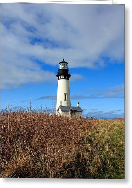 Yaquina Bay Lighthouse In Oregon Greeting Card by Athena Mckinzie