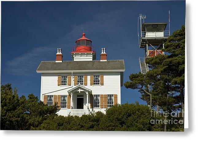 Yaquina Bay Lighthouse Greeting Cards - Yaquina Bay Lighthouse Greeting Card by Richard and Ellen Thane