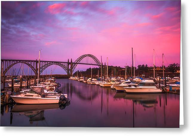 Bridge Greeting Cards Greeting Cards - Yaquina Bay Sunrise Greeting Card by Darren  White