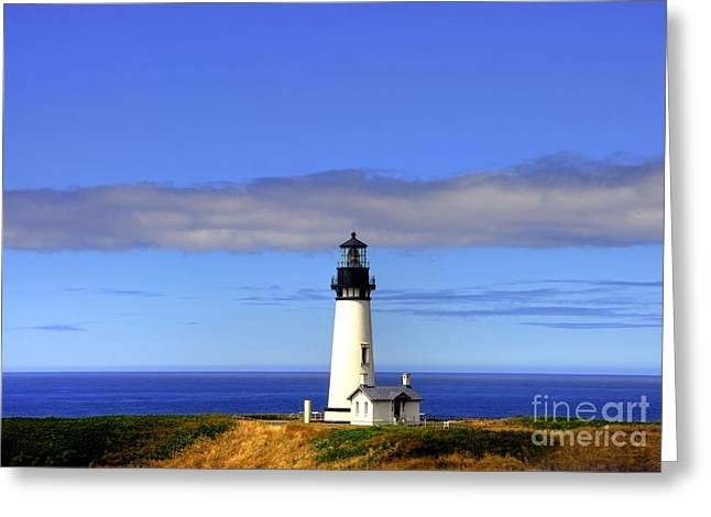 Navigational Greeting Cards - Yaquina Head Light   2 Greeting Card by Mel Steinhauer