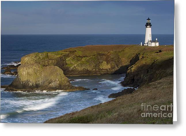 Rotate Greeting Cards - Yaquina Head Light Greeting Card by Brian Jannsen