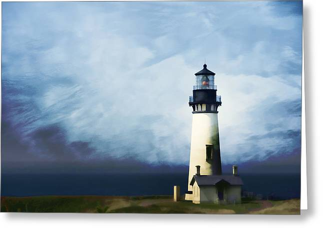 Pacific Northwest Digital Art Greeting Cards - Yaquina Head Light Greeting Card by Carol Leigh