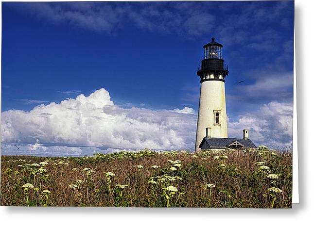 Ocean Art Photographs Greeting Cards - Yaquina Head Lighthouse Greeting Card by Andrew Soundarajan