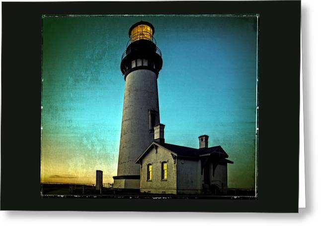 Seascape Art Greeting Cards - Yaquina Head Lighthouse At Sunset Greeting Card by Thom Zehrfeld