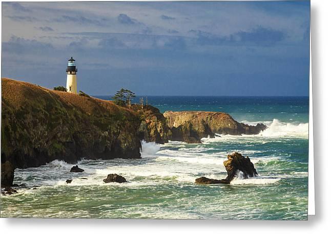 Yaquina Head Lighthouse Greeting Cards - Yaquina Head Lighthouse Greeting Card by James Eddy