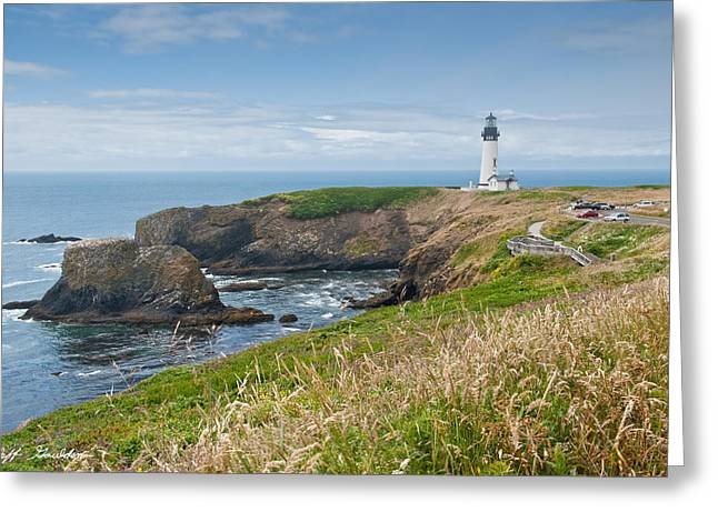 Yaquina Head Lighthouse Greeting Card by Jeff Goulden