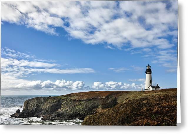 Yaquina Head Lighthouse Greeting Cards - Yaquina Head Lighthouse Greeting Card by Mary Jo Allen