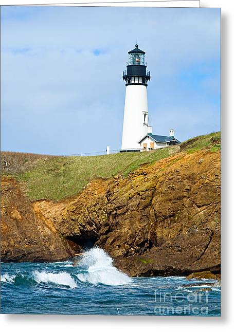 Ledge Greeting Cards - Yaquina Head Lighthouse on the Oregon Coast. Greeting Card by Jamie Pham
