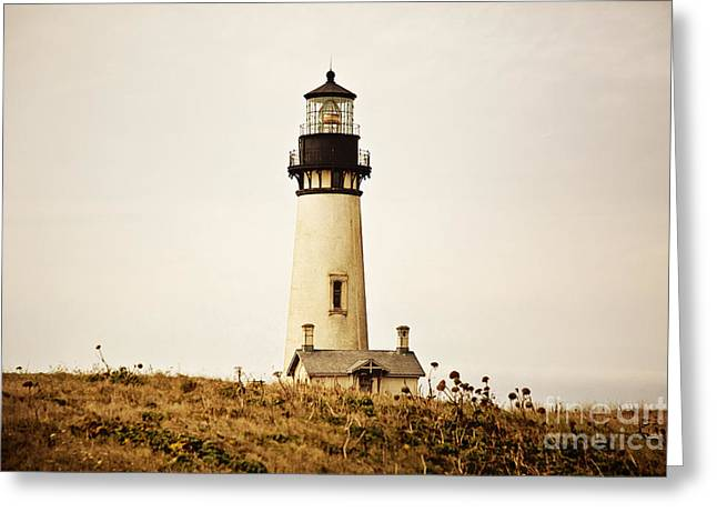 Recently Sold -  - Ocean Photography Greeting Cards - Yaquina Head Lighthouse Greeting Card by Scott Pellegrin