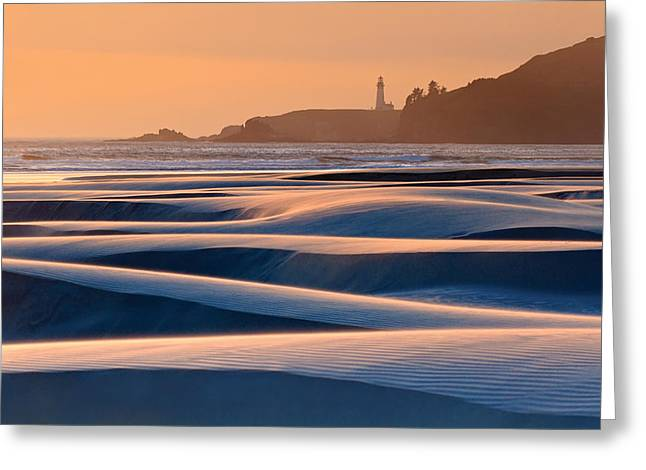 Agate Beach Oregon Greeting Cards - Yaquina Head Swirling Sands Greeting Card by Katherine Gendreau