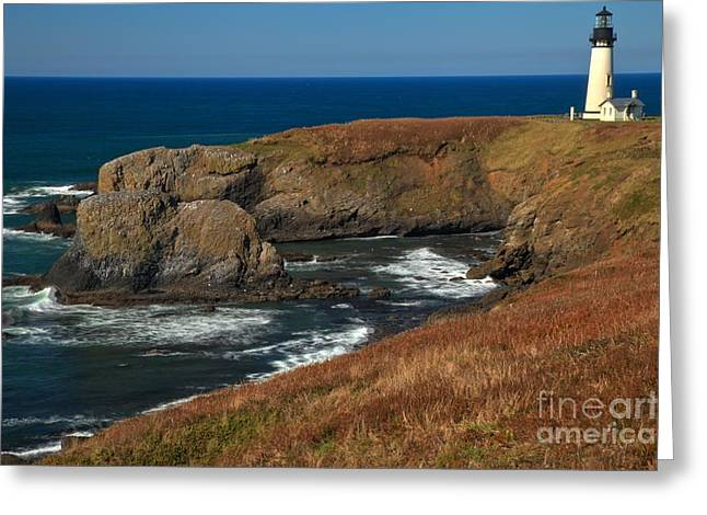 Yaquina Head Lighthouse Greeting Cards - Yaquina Headlight Greeting Card by Adam Jewell