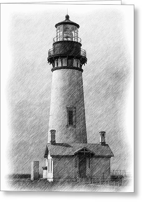 Landmark Tapestries - Textiles Greeting Cards - Yaquina Lighthouse Greeting Card by Dennis Bucklin