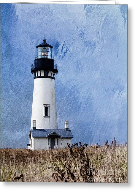 Fresnel Greeting Cards - Yaquina lighthouse Greeting Card by Elena Nosyreva