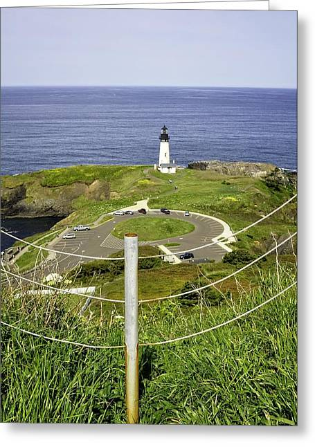 North Sea Greeting Cards - Yaquina Lighthouse From Salal Hill Trail  Greeting Card by Image Takers Photography LLC - Laura Morgan