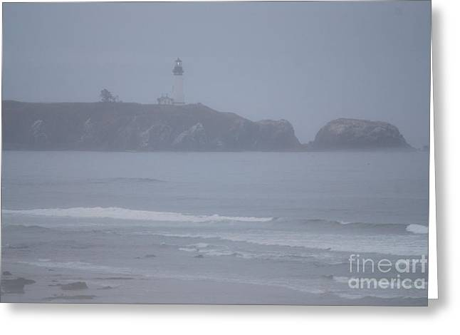 Pacific Ocean Prints Greeting Cards - Yaquina Lighthouse in the Fog Greeting Card by Sharon Elliott