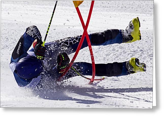 Ski Racing Greeting Cards - Yard Sale Greeting Card by Bob Hislop