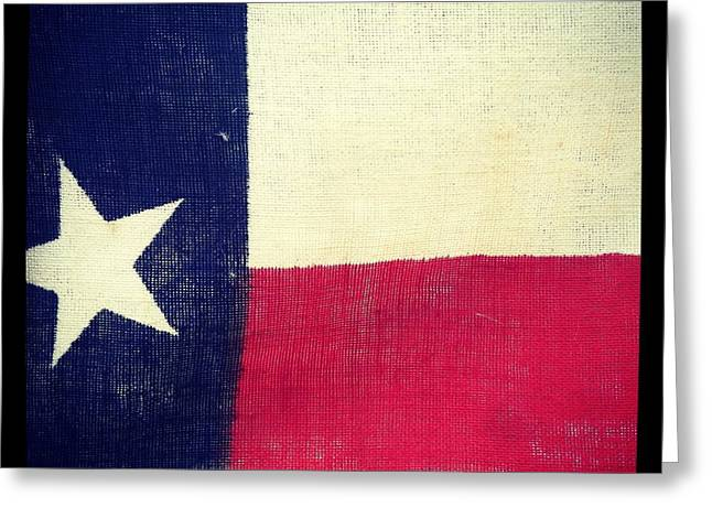 Red White And Blue Pyrography Greeting Cards - Yard Sale Texas Flag Greeting Card by Brook Freeman