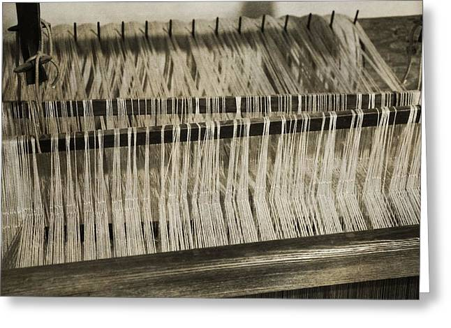 Fabrication Greeting Cards - Yarn From Spinning Wheel Greeting Card by Dan Sproul