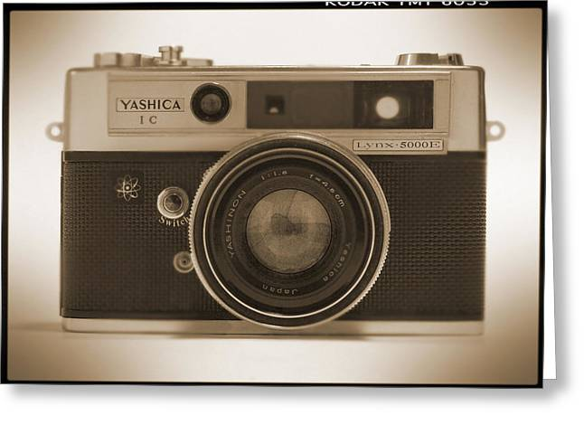 Rangefinder Greeting Cards - Yashica Lynx 5000E 35mm Camera Greeting Card by Mike McGlothlen