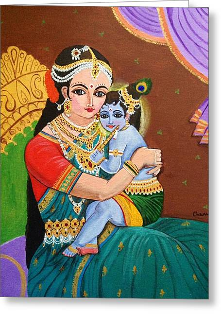 Gopala Greeting Cards - Yashoda and krishna Greeting Card by Charumathi Raghuraman