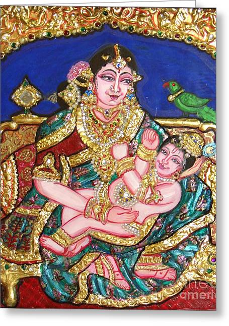 Kami A Greeting Cards - Yashoda holding gopala Greeting Card by Jayashree