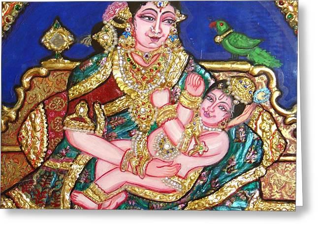 Yashoda holding gopala Greeting Card by Jayashree