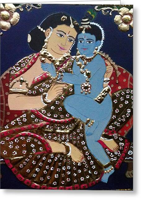 Tanjore Greeting Cards - YashodhaKrishna Greeting Card by Priya A