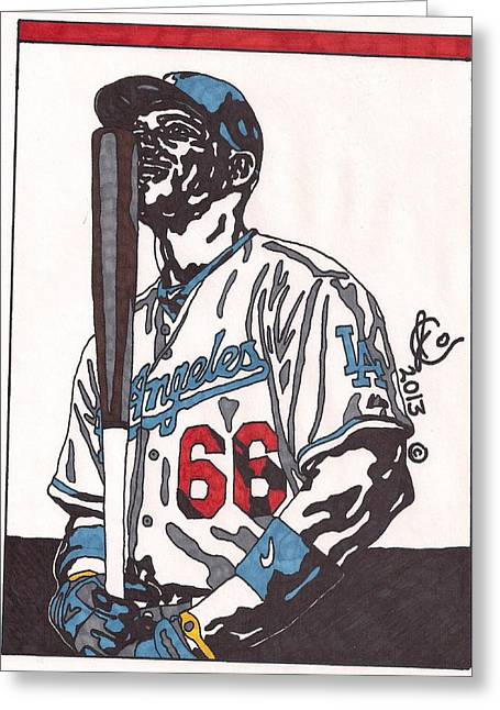 Los Angeles Dodgers Drawings Greeting Cards - Yasiel Puig 1 Greeting Card by Jeremiah Colley