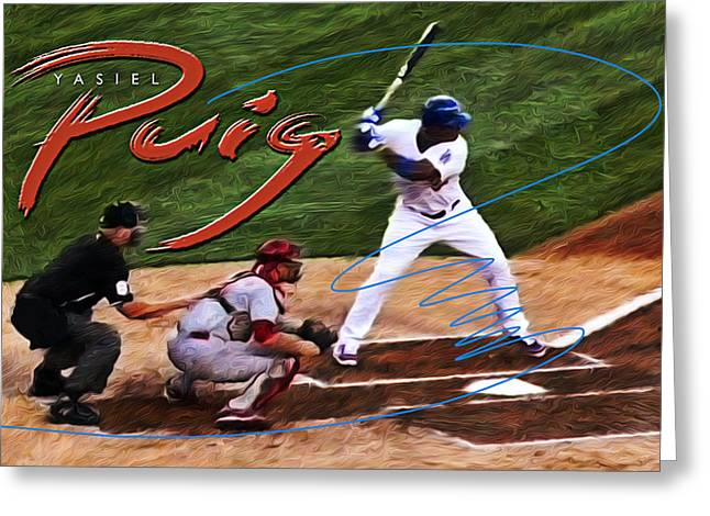 Yasiel Puig Greeting Card by Ron Regalado