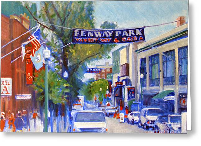 Boston Red Sox Paintings Greeting Cards - Yawkey Way Greeting Card by Candace Lovely