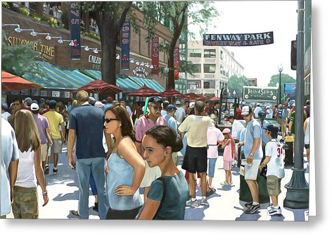 Red Sox Paintings Greeting Cards - Yawkey Way Greeting Card by Linda Tenukas