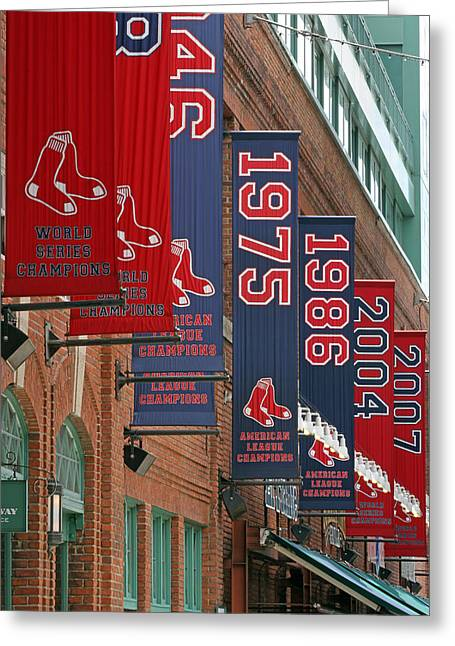 Press Box Greeting Cards - Yawkey Way Red Sox Championship Banners Greeting Card by Juergen Roth