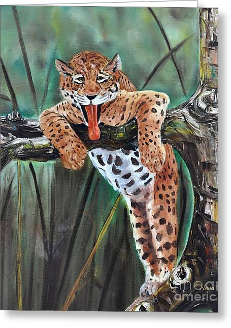 Gameroom Greeting Cards - Yawning Leopard Greeting Card by Nava  Thompson