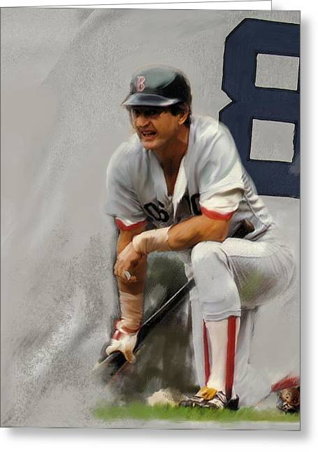 Red Sox Drawings Greeting Cards - Yaz   Carl Yastrzemski Greeting Card by Iconic Images Art Gallery David Pucciarelli