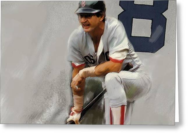 Carl Yastrzemski Greeting Cards - Yaz II  Carl Yastrzemski Greeting Card by Iconic Images Art Gallery David Pucciarelli