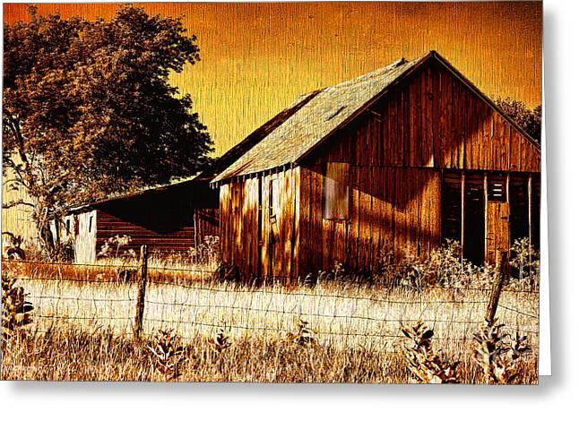 Outbuildings Digital Art Greeting Cards - Ye Old Sepia Outbuildings Greeting Card by Anna Surface