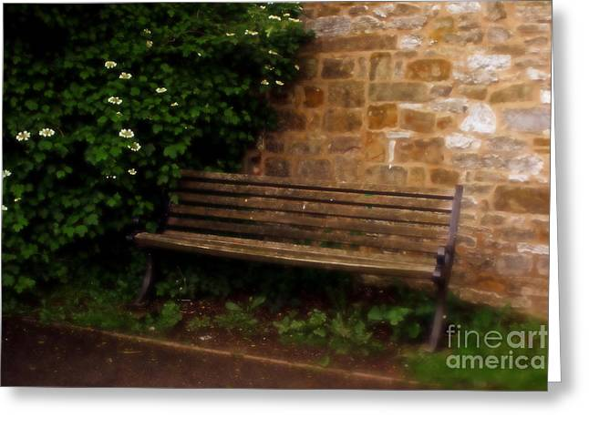 Ye Olde Bench In Bakewell Town Peak District - England Greeting Card by Doc Braham
