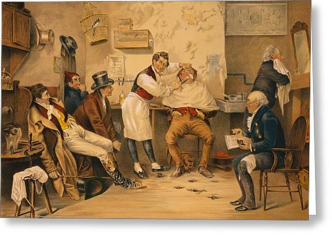 Olde Greeting Cards - Ye Olde Time Barbershop Greeting Card by Digital Reproductions