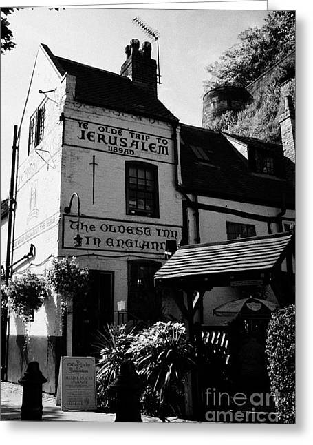 Nottingham Greeting Cards - Ye Olde Trip To Jerusalem Most Ancient Inn In England Pub Castle Road Nottingham  Greeting Card by Joe Fox