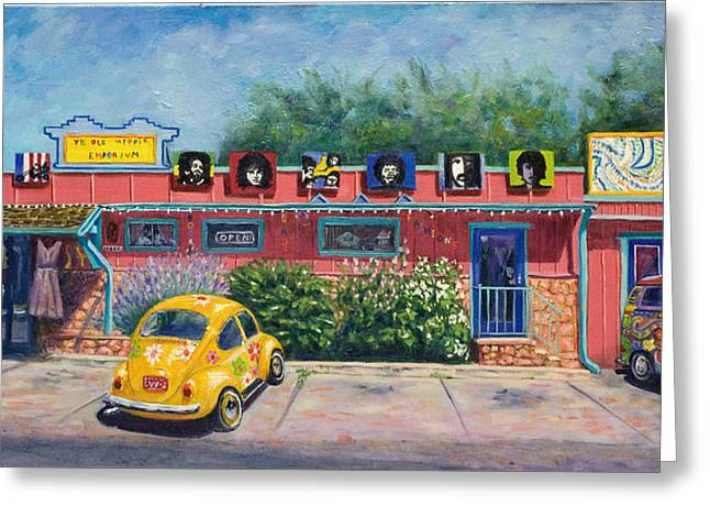 Hippie Volkswagon Greeting Cards - Ye Ole Hippie Emporium Cottonwood AZ Greeting Card by Patty Kay Hall